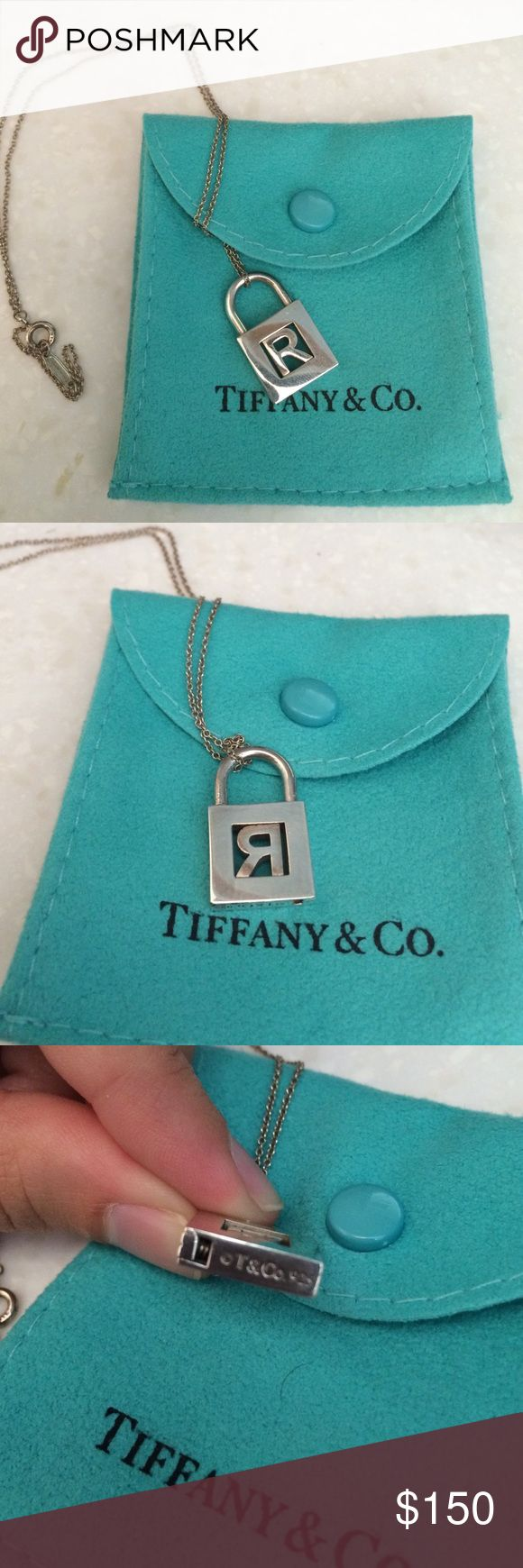 "Tiffany & Co necklace Tiffany & Co ""R"" initial padlock pendant. Necklace was only worn a few time and comes with original Tiffany & Co jewelry pouch. No longer sold at Tiffany's. Tiffany & Co. Jewelry Necklaces"