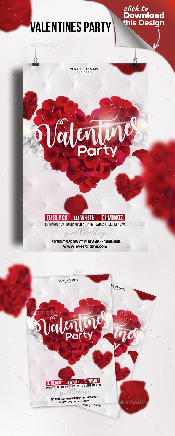 Club Flyer Love Day Poster Party Print Psd Template Valentine Valentines