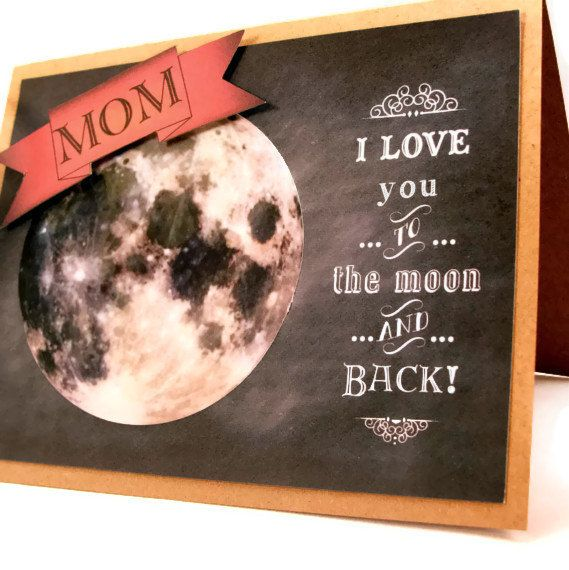 Mother's Day To the Moon Card with 3D Pennant by ShopGibberish, $5.00