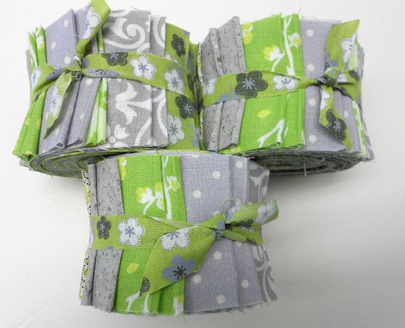 Green and Gray Quilt Fabric Jelly Roll Strips SEW by SEWFUNQUILTS, $19.75
