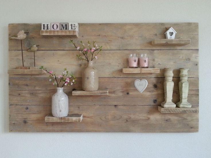 Wanddecoratiebord van oud steigerhout afmeting L135xH78cm voorraad artikel (24120141533)