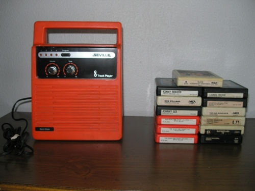 eight track tape recorder and eight track tapes