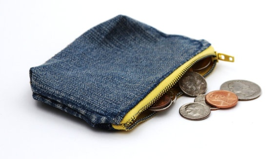 great little coin purse made from recycled denim!