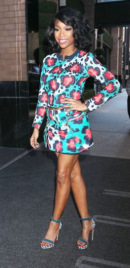 Brandy Norwood - The matching cardi and skirt are cute, but I really love her hair!
