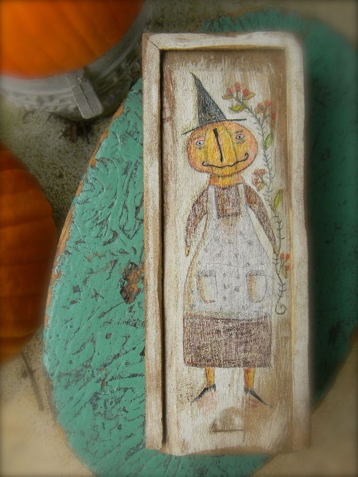 Primitive Folk Art Painted Box ~ Bittersweet Witch ~ from Notforgotten Farm #NaivePrimitive #LoriBrechlin