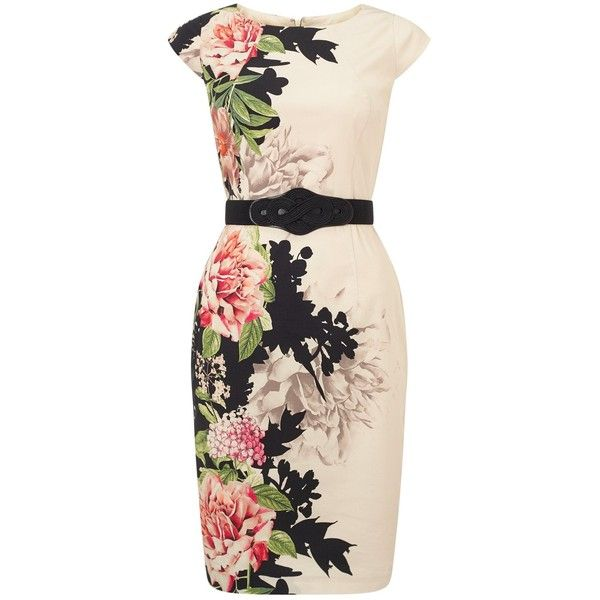 Phase Eight Arum Floral Placement Dress, Cream/Multi ($145) ❤ liked on Polyvore featuring dresses, cream maxi dress, maxi dress, cap sleeve dress, pink pencil dress and cap sleeve maxi dress