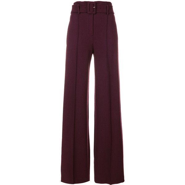 Theory belted stretch high waist trousers (11,410 EGP) ❤ liked on Polyvore featuring pants, red, high waisted wide leg trousers, high-waisted pants, theory pants, high waisted stretch pants and high-waisted wide leg pants