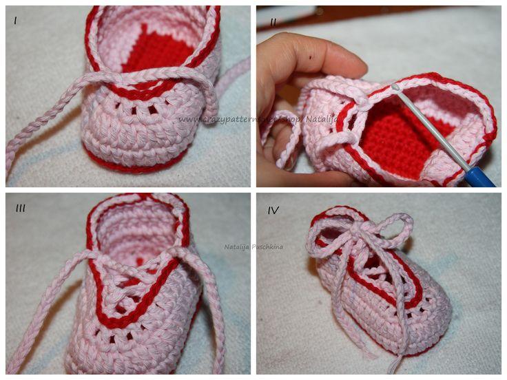 Schuhe 'Romantik' – Häkelschrift I – Wolle: Cotton Universal (von Wolle Rödel). LL: 85m/50g. Häkelnadel: 3-4 mm. II – 17 Lftm häkeln. III – 1.Reihe: In die zweite Masche nac