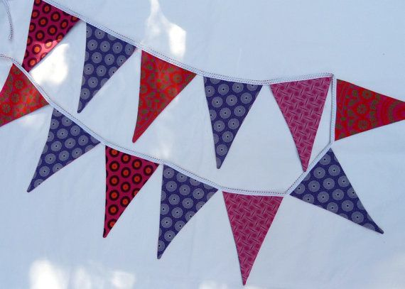 Purple and Pink Fabric Bunting  Hand made in by MathildeAndCo