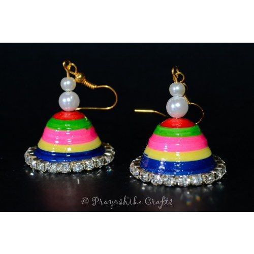Multi Color Jhumka earrings with beads and crystals.....