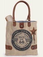 """Our Route 66 Tote Bag features drop handles and other elements in soft leather. Stone washed canvas provides durability and a great look. It has a stylish ticking lining and an inside pocket. Measures: 15""""L x 15½""""H x 2½""""D http://orthodoxincense.com/scarvesheadoverings.html"""