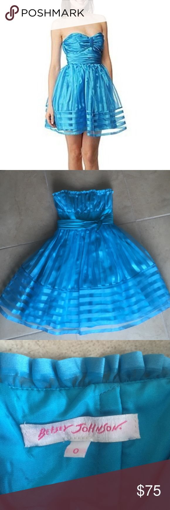 Betsey Johnson blue striped dress. Like New Worn once on my birthday. Great condition electric blue striped dress Betsey Johnson Dresses Prom