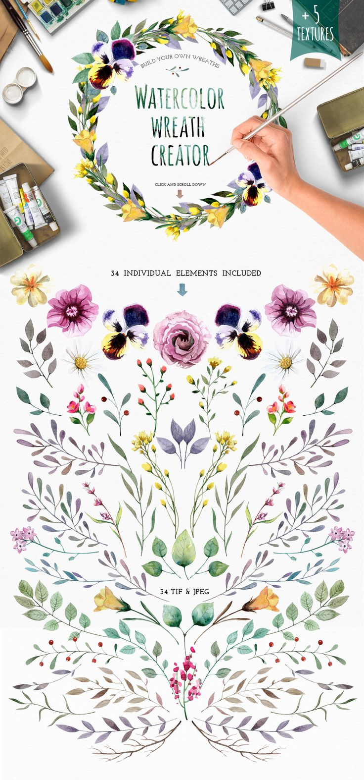 Watercolour elements. Wreath creator by Smotrivnebo on @creativemarket