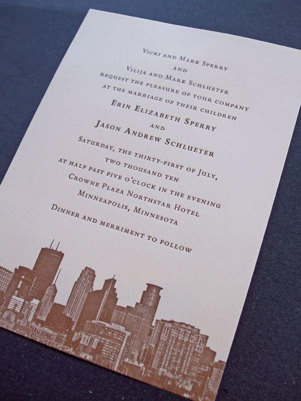 custom letterpress printed wedding invitations featuring the Minneapolis