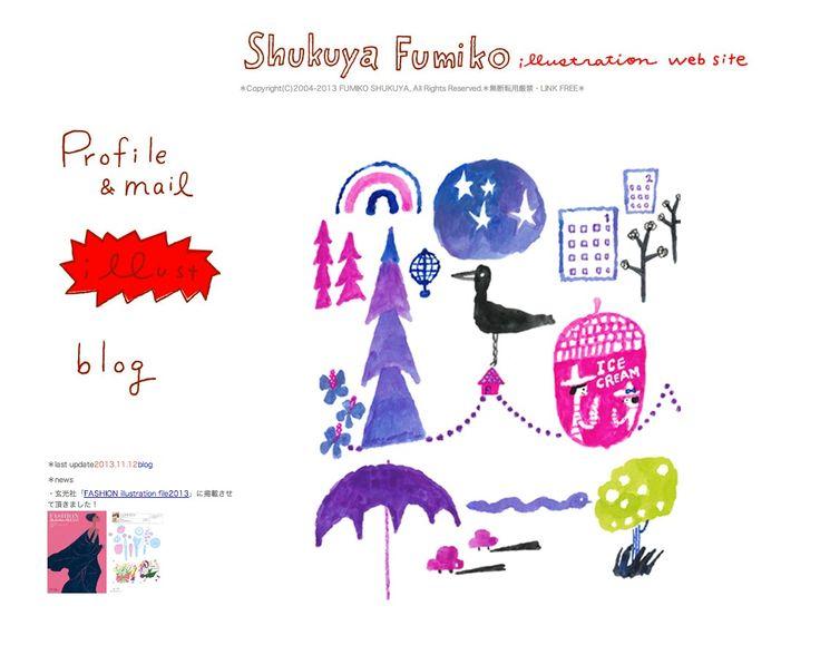http://www.geocities.jp/syfumi/ Shukuya Fumiko 宿谷フミコ [イラスト]ゆるさのある手描きの人物など カラフル・品が良い