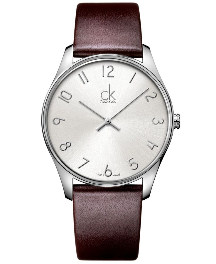 Calvin Klein Watch, Men's Swiss Classic Brown Leather Strap 38mm K4D211G6