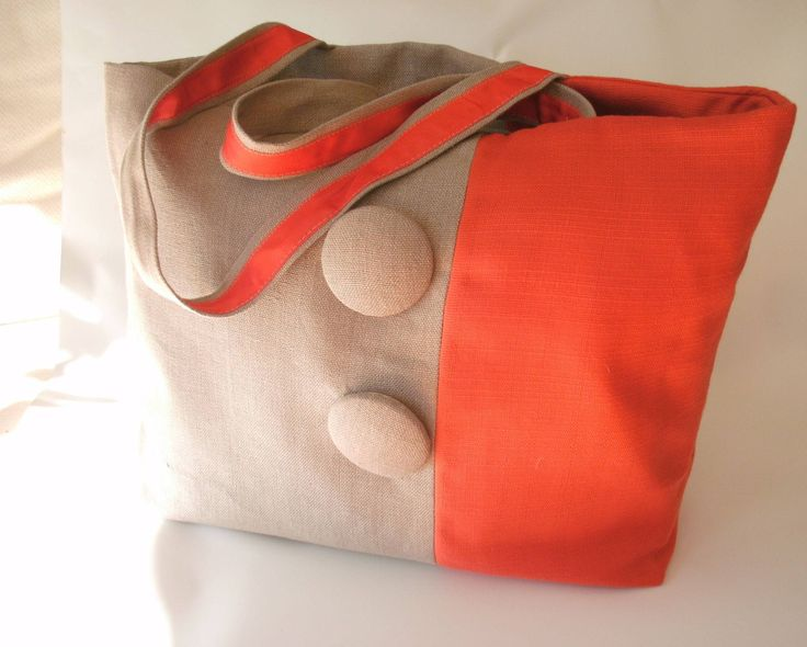 tote bag linen tangerine color block