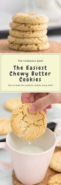 The Easiest Chewy Butter Cookies - These chewy butter cookies are so easy that you will never want to try  another recipe. In 20 minutes you can get the softest cookies out there. | The Cookware Geek