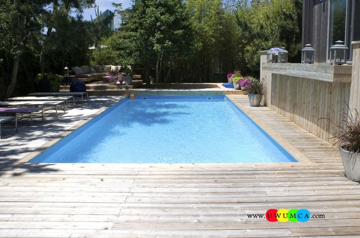Swimming Pool:Astounding Large Blue Water Swimming Pool Deck Ideas Inground Swimming Pool & Deck Ideas Decorating Pool Deck Design With Wood Deck Plus Outdoor Lounge Design Ideas And Lighting As Well As Green Backyard Garden Amazing Swimming Pool Deck Ideas