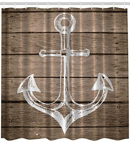 Anchor Shower Curtain Nautical Decor Hand Drawing Boating Sketch Taupe Rustic Wooden Planks Coastal Home Buoy Kids Decor Bath Textile Polyester Fabric Machine Washable Brown White