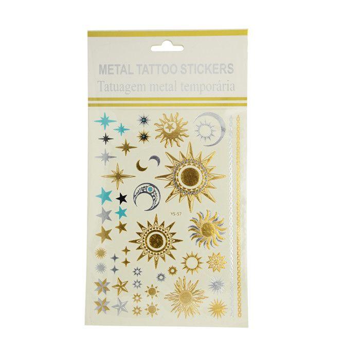 Shiny Tattoo - Sonne,Mond,Sterne, gold-silber-türkis , 15x20 cm im Bastelshop babsi.at