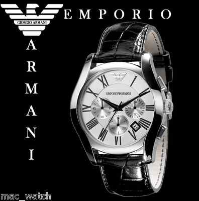 emporio armani herren uhr ar0669 chronograph schwarz leder. Black Bedroom Furniture Sets. Home Design Ideas