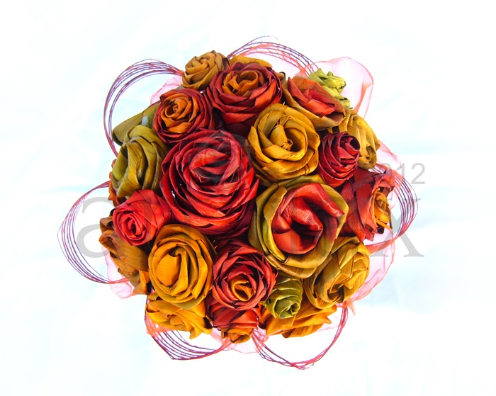 Artiflax - flax flowers - Vibrant flax flower wedding bouquet in oranges and yellows