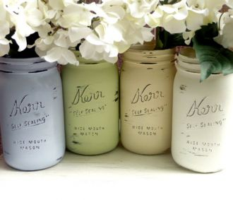 Painted Distressed Mason Jars Great idea for reception or bridal shower.  Perfect for a Rustic Wedding. #DIY, #rustic wedding, #reception