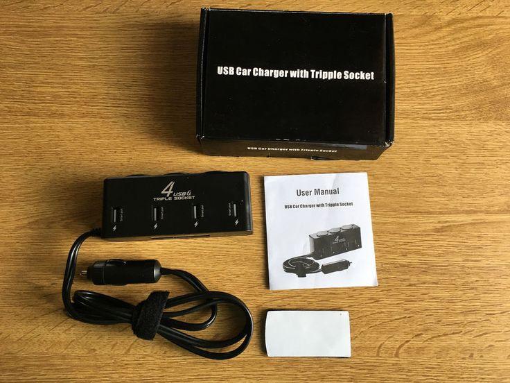 Cateck 6A/40 W 4 porte USB ad alta potenza caricatore auto con 3 presa accendisi