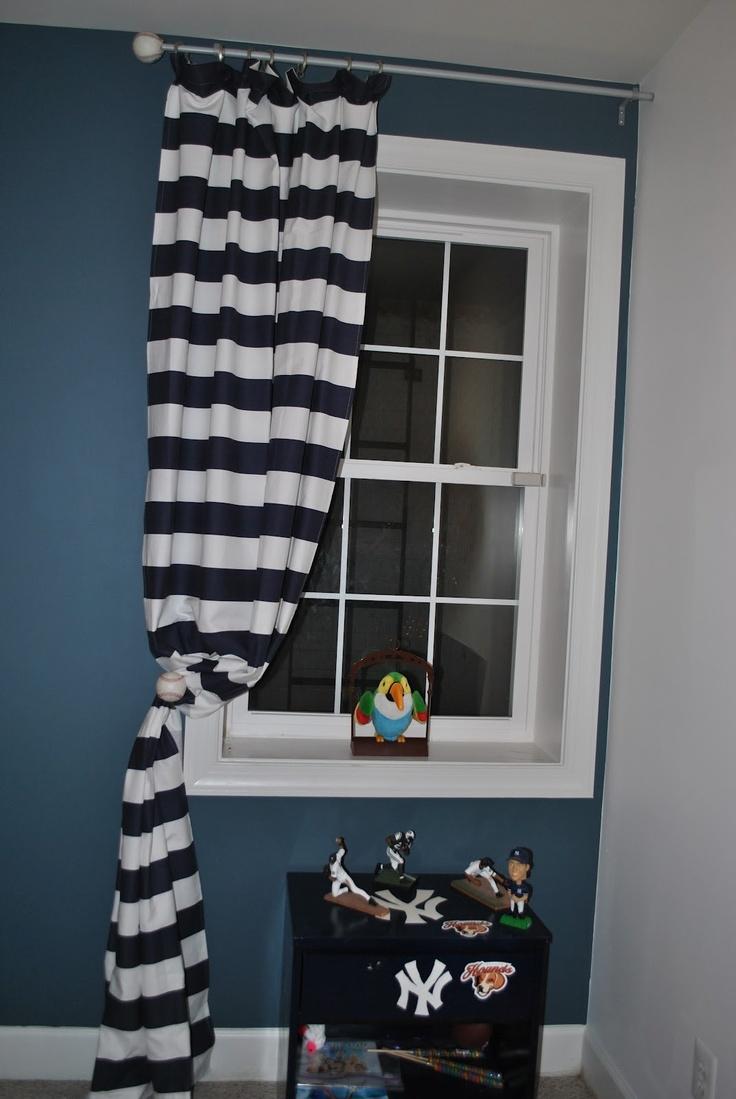 adventures in diy baseball curtain rod boys 39 bedrooms pinterest