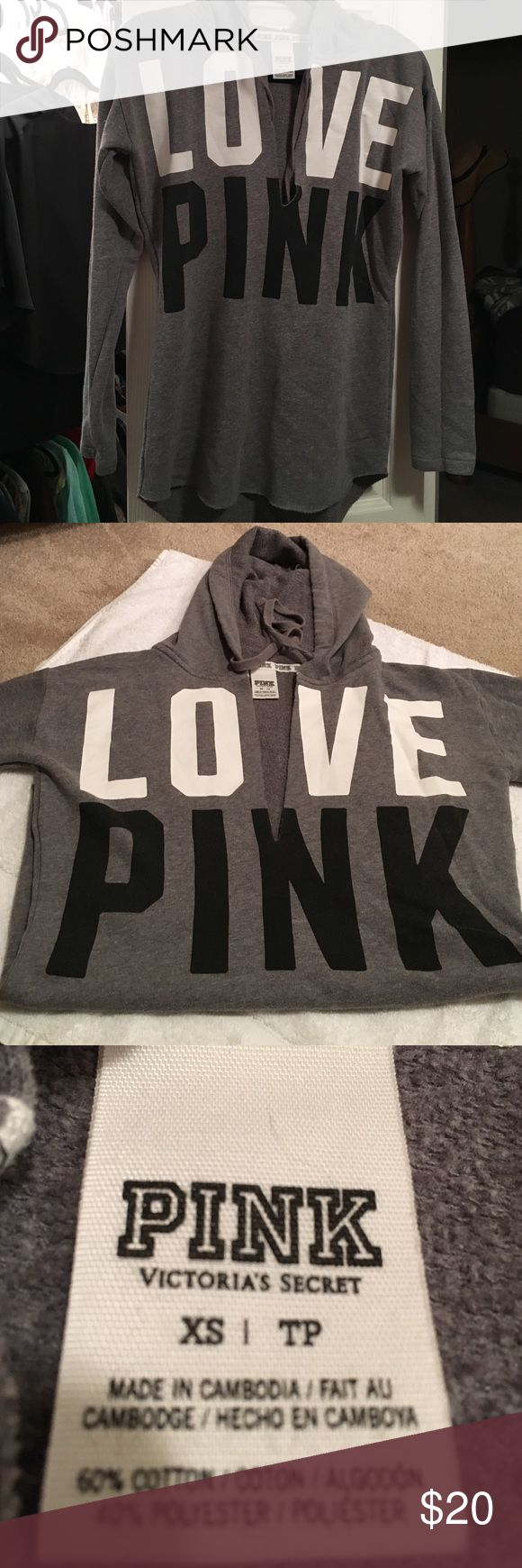 Victoria secret pink Deep V sweat shirt Grey black and white xs fits like a small Victoria's Secret Tops Sweatshirts & Hoodies