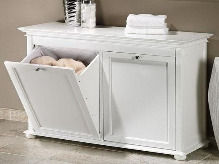 Laundry Room Clothes Folding Table With Built-In Clothes Hamper