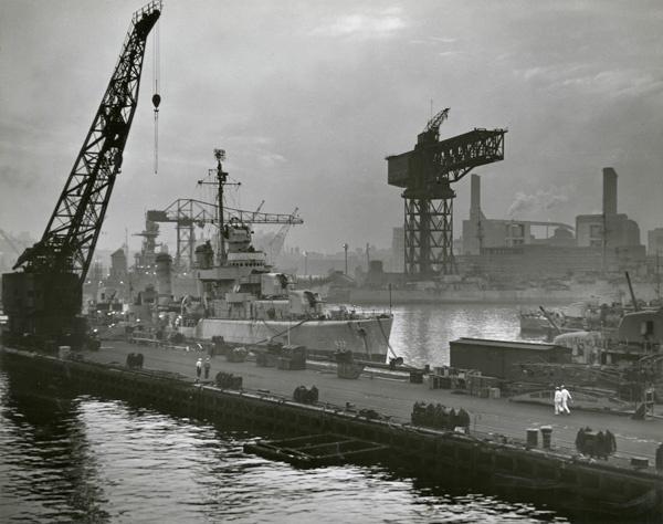 Official U.S. Navy Photograph. [Brooklyn Navy Yard at Dusk], 1945. New-York Historical Society.