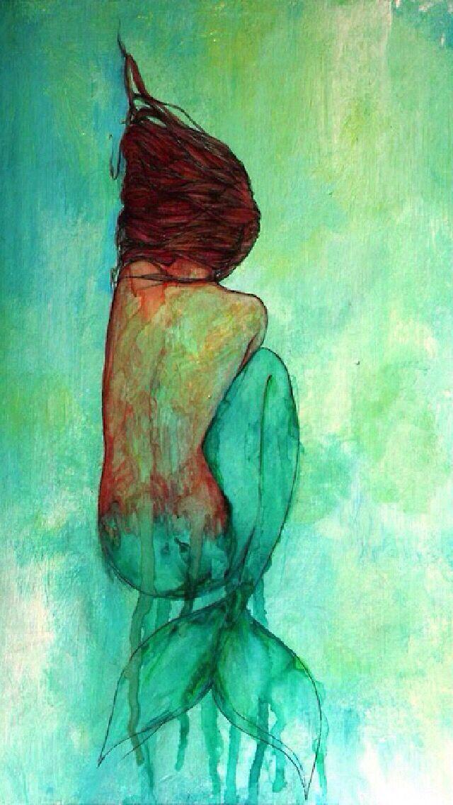 Watercolor mermaid - iPhone wallpaper