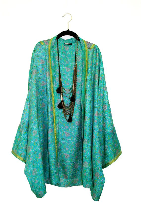 Silk Kimono jacket oversized / cocoon beach cover up by Bibiluxe, £75.00