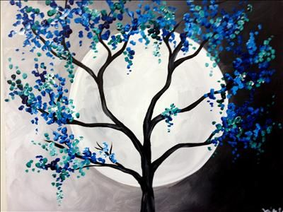 Blue/Green Moon - Sarasota, FL Painting Class - Painting with a Twist