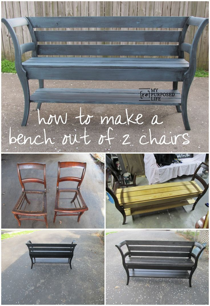 How to make a double chair bench using repurposed chairs. The step by step tutorial pictures would not open, but this is good enough for me to see the magic of a bench made from two chairs.I love this bench