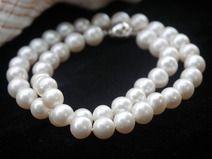 Klassisch echte Perlenkette elegant weiß rund Gold