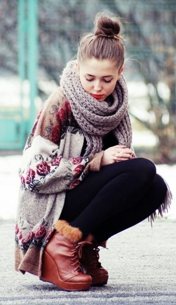 Love this look: Top knot bun, warm & thick knit scarf, long