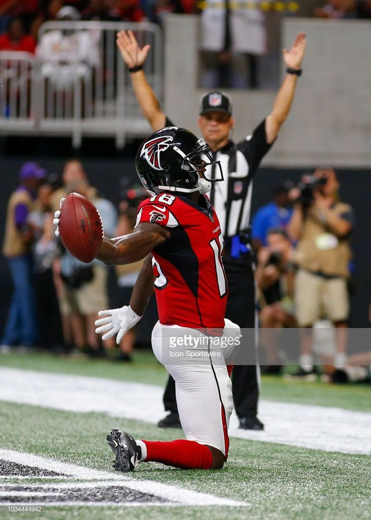 Atlanta Falcons wide receiver Calvin Ridley (18) reacts after scoring a  touchdown in an NFL football game between the Carolina Panthers and Atlanta  Falcons ... 294f0a53d