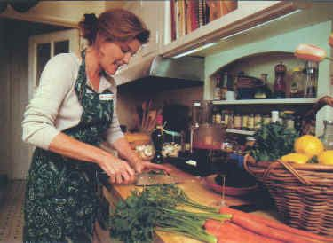 Kate Mulgrew Cooking at home in CA - People Weekly, April 21, 1997 - Click on link to see her recipe for Penne with Vodka & Spicy Tomato Cream Sauce