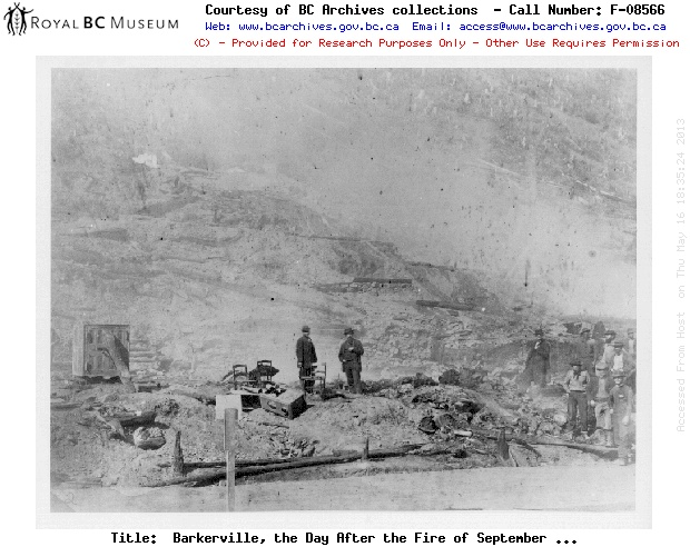 The fay after the fire of  September, 1868 in Barkerville, BC.