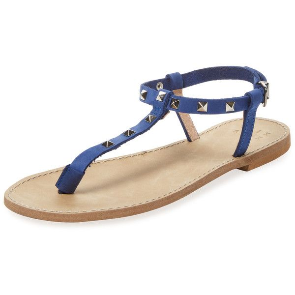 Alex + Alex Women's Studded Thong Sandal - Blue - Size 35 ($40) ❤ liked on Polyvore featuring shoes, sandals, blue, studded flat shoes, toe thongs, studded flat sandals, studded thong sandals and studded sandals