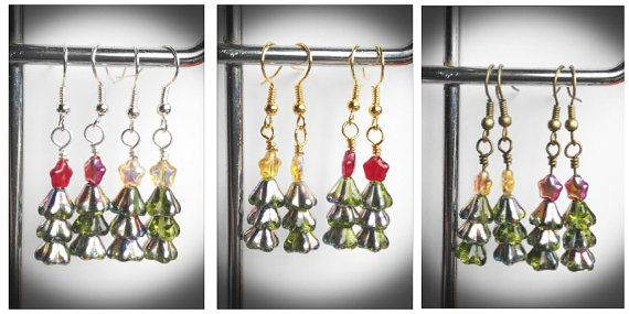 Christmas tree earrings czech glass. green trees with by terramor