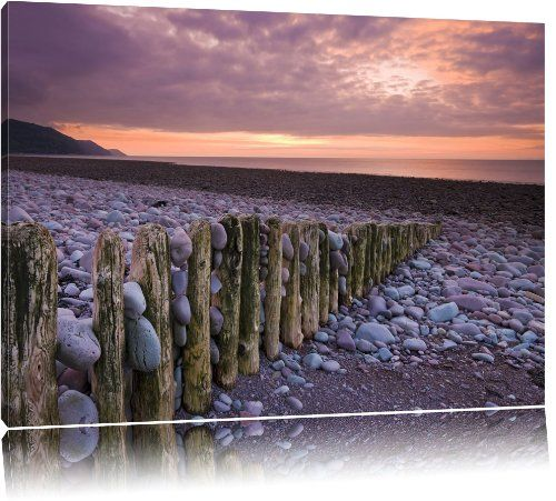 Stone beach at dusk on canvas, XXL Pictures completely framed with large wedge frames, wall art print picture with frame, cheaper than painting or picture, no posters or poster, Leinwand Format:120x80 cm