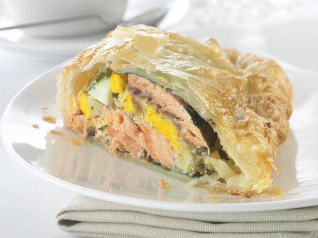 Salmon, rice and #egg pie - great served with Hollandaise sauce or a light white wine and grain mustard sauce.