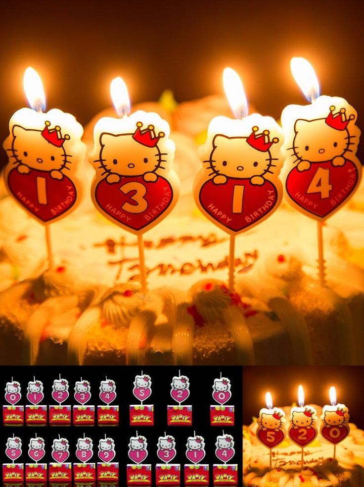 [Visit to Buy] New Hello Kitty Cartoon Kid's Birthday Cake/Cupcake Toppers Party Birthday Candle Creative Birthday Cake Candles.Party Supplies #Advertisement