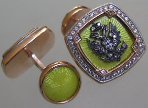 Faberge 14kt red and white gold enamelled guilloche cufflinks with diamonds.