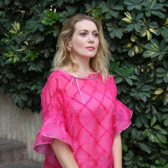 Silk organza top Short volume sleeves Chic blouse Elegant silk