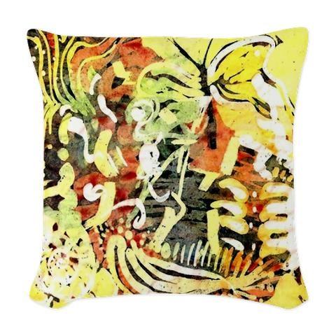 Natural Abstract Woven Throw Pillow > Natural Abstract > KatieArt - Batiks